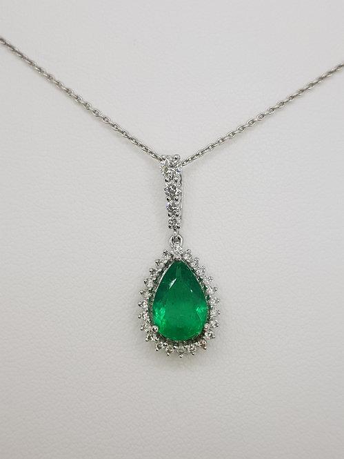 Emerald and diamond pendant and chain.