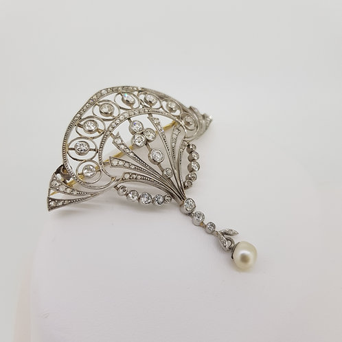 18ct and platinum natural pearl and diamond brooch