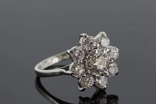 Platinum daisey cluster diamond ring d2.51cts