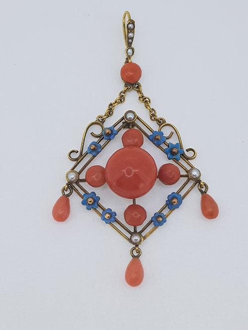 15ct gold and coral pendant
