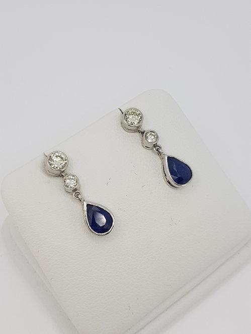 Sapphire and diamond drop earrings.