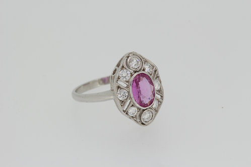 18ct pink sapphire and diamond ring