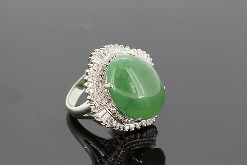 Jade and diamond cluster ring jade15cts d1.87