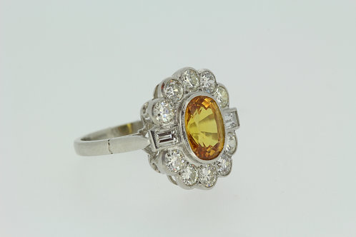 Platinum and yellow sapphire diamond cluster ring ys2.50cts d1.30cts