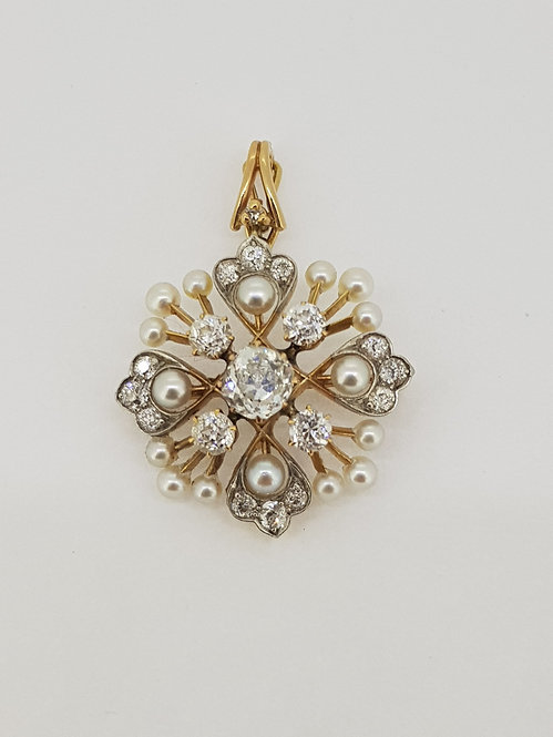 Natural pearl and diamond pendant/brooch, old cut diamonds.