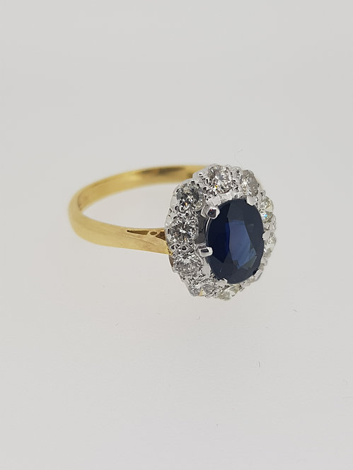 18ct sapphire and diamond cluster ring 1970s