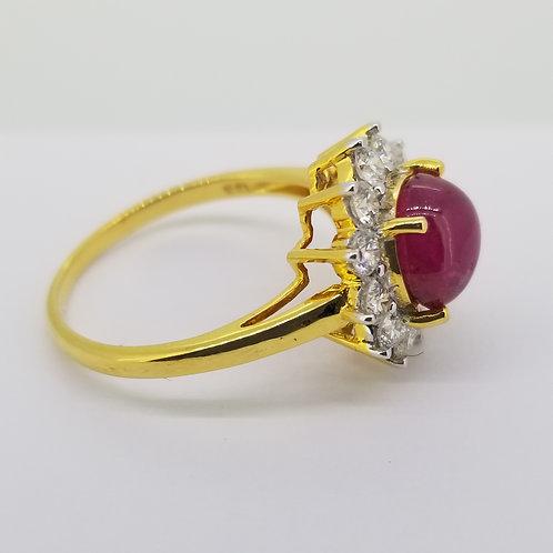 Burma ruby and diamond cluster ring