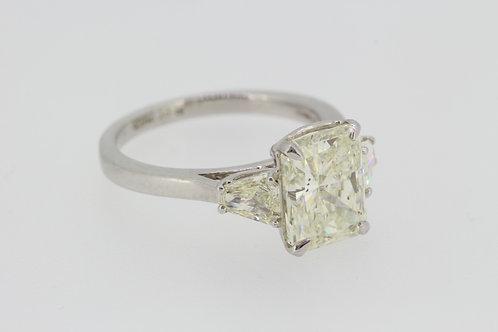 Platinum radiant cut diamond ring.