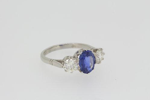 Platinum sapphire and diamond trilogy ring.
