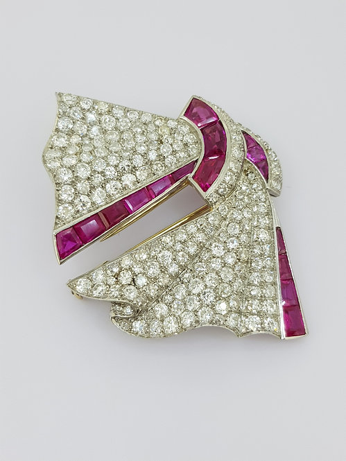 Ruby and diamond brooch G Petochi.