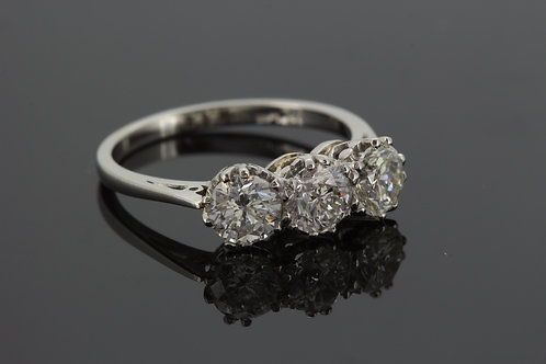 Platinum and diamond three stone ring.