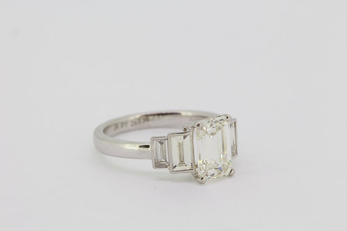 Emerald cut diamond ring. Platinum