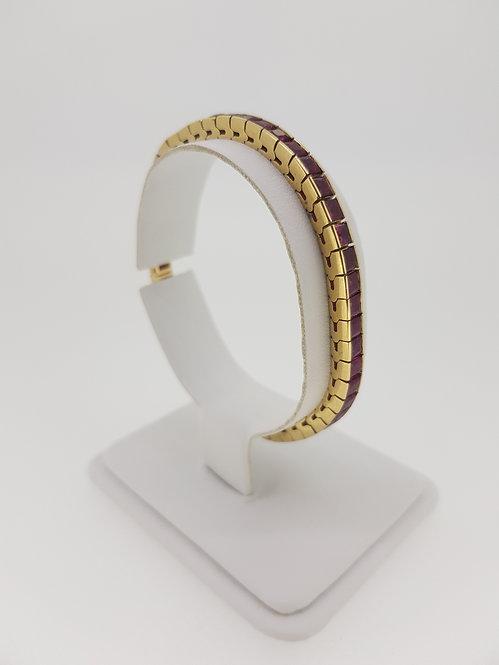 Est 10cts French cut Ruby's 14ct bracelet