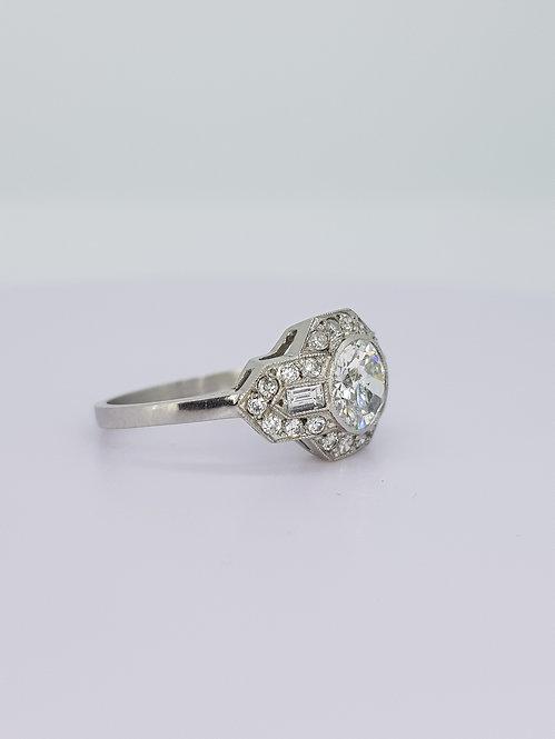 Deco style diamond cluster ring cs0.92x0.40cts