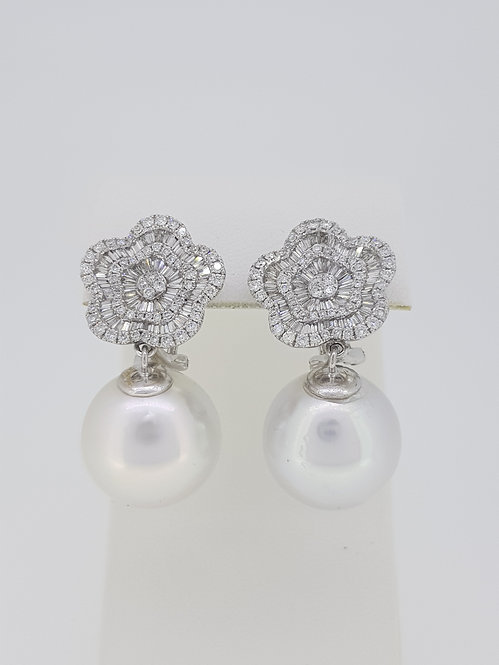 South sea pearl and diamond cluster earrings.