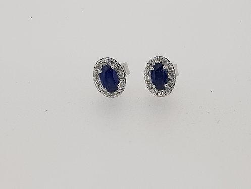 Oval sapphire and diamond earrings