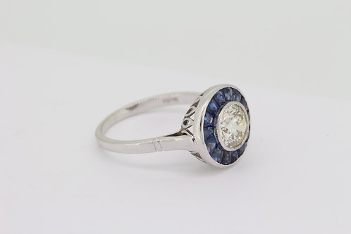 Sapphire and diamond calibre set ring D1.21cts