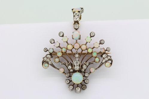 Antique Opal and diamond pendant/brooch