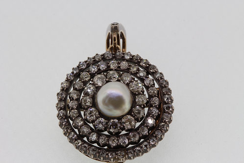 Antique diamond and pearl pendant brooch.