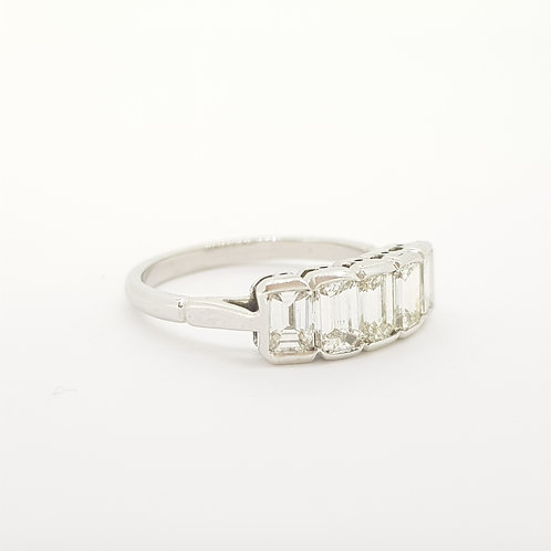 Five Stone Emerald cut diamond ring Est Total weight 1.50cts