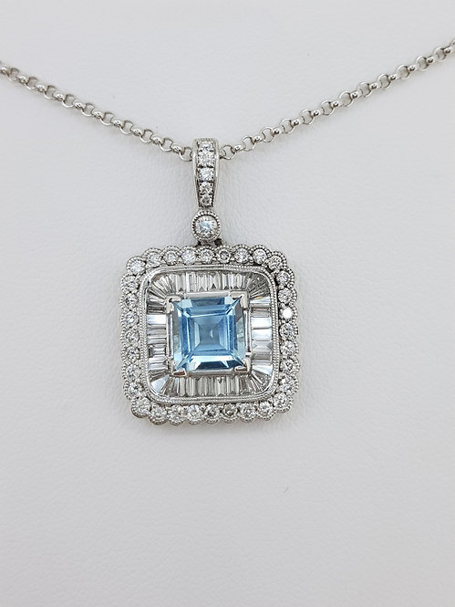 Aquamarine and baguette diamond pendant d1.42cts aq1.50cts