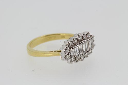 Hallmarked 18ct Y/W gold diamond ring.