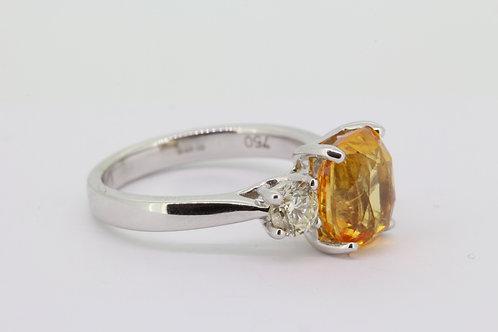 Orange sapphire and diamond ring