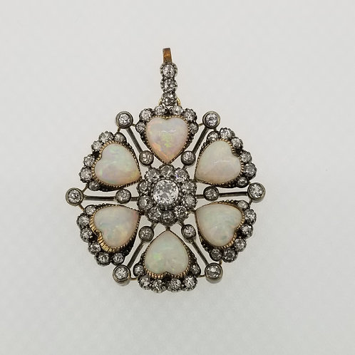 Antique opal hearts and diamond brooch /pendant.