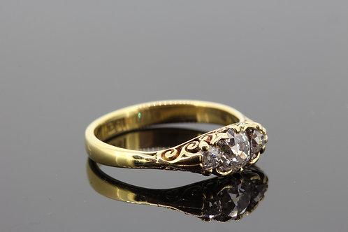 Victorian three stone old cut diamonds 18ct gold