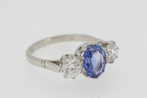 Sapphire and diamond three stone S2.45cts d1.30cts