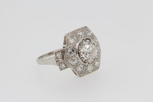 Platinum deco diamond ring cs est 1.20cts+1.40cts