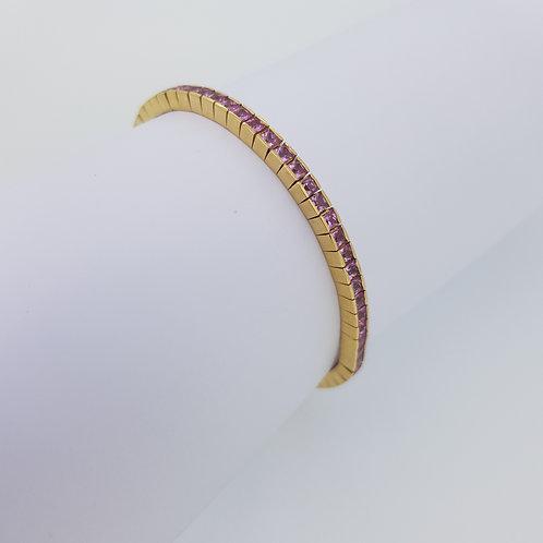 Pink sapphire 18 carat line bracelet