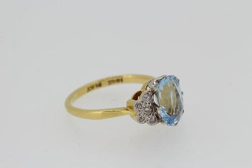 Aquamarine and diamond cluster ring circa 1960