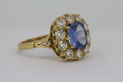 Victorian style sapphire and diamond cluster ring.