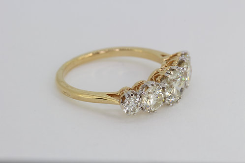 18ct old cut diamond five stone ring