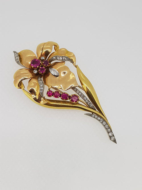 18ct ruby and diamond brooch