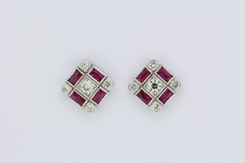 Ruby diamond stud earrings.