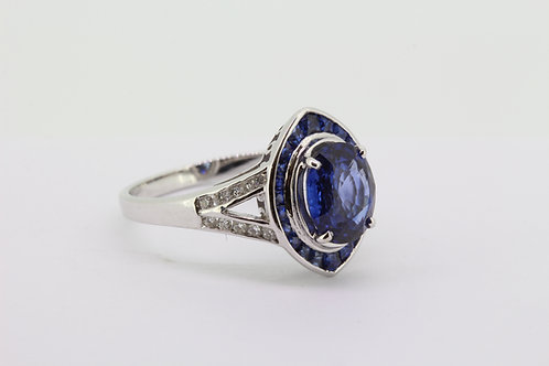 Navette sapphire and diamond ring.