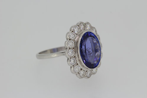 Tanzanite and diamond cluster ring TZ7.51cts D1.50cts