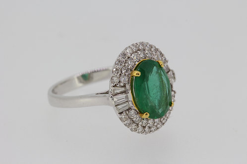 Emerald and diamond cluster ring e2.20cts d.75cts