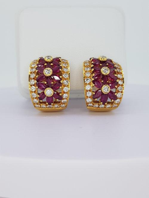 18ct ruby and diamond creole earrings.