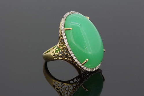 14ct chalcedony and diamond ring
