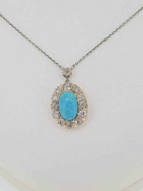 Turquoise and old cut diamond pendant