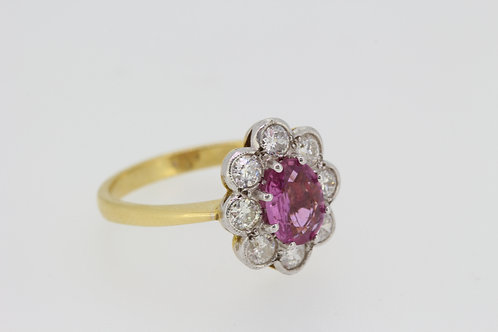 Pink sapphire and diamond ring S1.25cts d.90cts