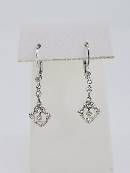 Art Deco style diamond drop earrings.