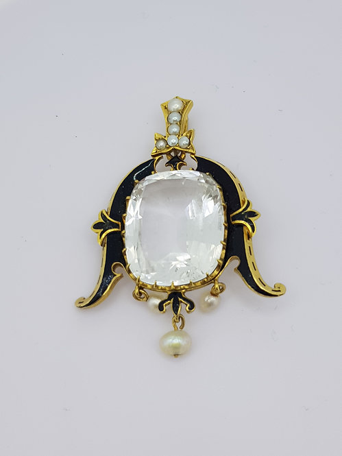 Antique enamel pearl and white topaz pendant.