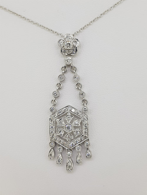 18ct white gold and diamond pendant.