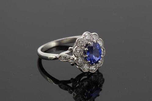 Platinum sapphire and diamond cluster ring.