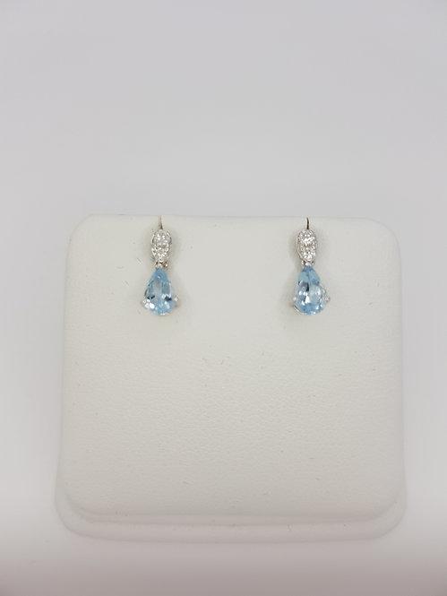 Aquamarine and diamond drop earrings aq0.64cts d0.10cts