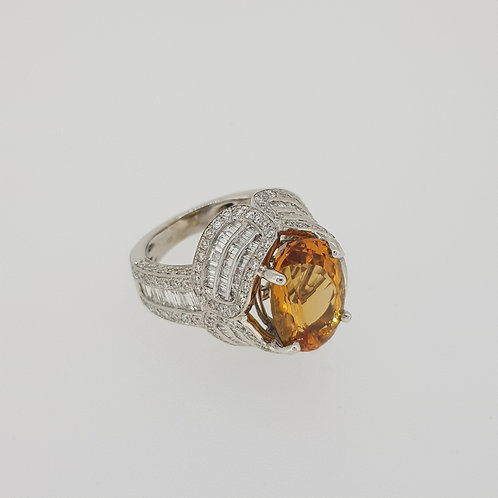 Brazilian  topaz and diamond ring